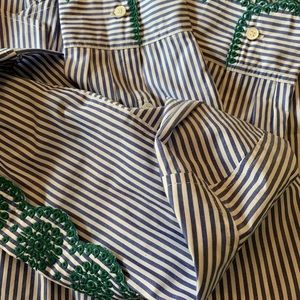 J. Crew Tops - J. Crew Blue/Wht. Striped Shirt Embroider collar